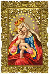Muttergottes mit Jesuskind  Heiligenbildchen  um 1880