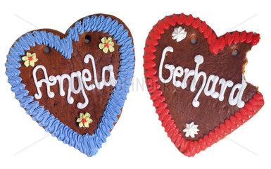 Lebkuchenherzen Angela und Gerhard