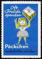 Werbeaktion Paeckchen nach drueben  in die DDR  um 1964
