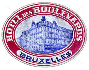 Hotelaufkleber  Bruessel  um 1930