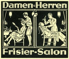 Damen und Herren Frisiersalon  Kinoreklame  um 1926