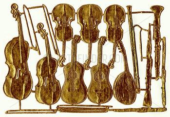 Musikinstrumente  alte Papierkunst  um 1905
