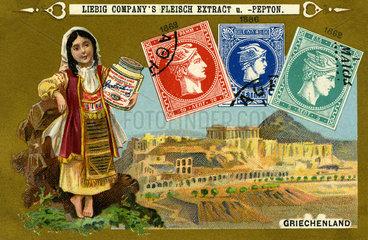 griechische Briefmarken  Liebig Sammelbild  1898