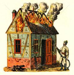 Feuerwehr im Einsatz  brennendes Haus  um 1870