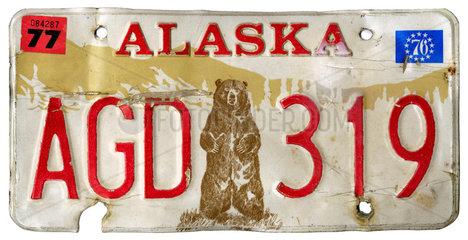 altes Nummernschild  USA  Alaska  1976
