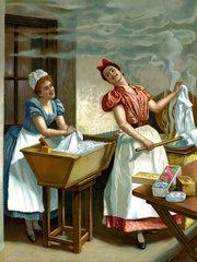 Waschfrauen in der Waschkueche  1907