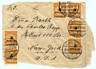 Briefmarken Inflation 1923  Brief-Porto 30 Milliarden