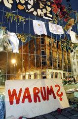 Brand Ludwigshafen  Hausruine  Absperrung  Gedenken