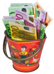 Geld im Eimer  Symbol Fehlinvestition