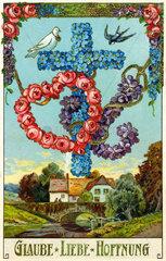christliche Symbole  Glaube  Liebe  Hoffnung  1914