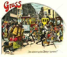 elektrische Strassenbahn  Verkehrschaos  1903