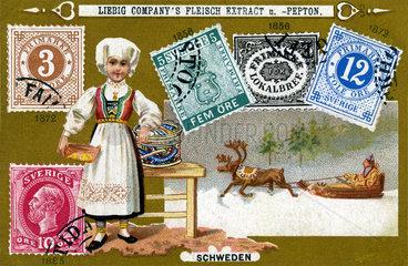 schwedische Briefmarken  Liebig Sammelbild  1898