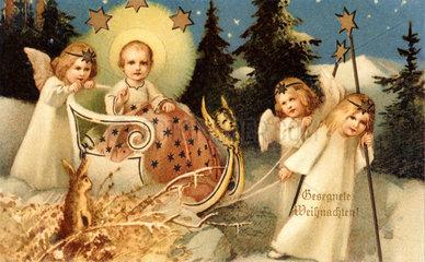 Christkind im Schnee  Weihnachtskarte  1909