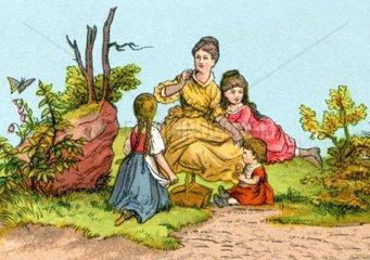 Mutter mit Toechtern beim Picknick  um 1870