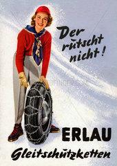 Werbung fuer Erlau Gleitschutzketten  um 1955