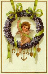 Liebesengel  Amor im Blumenkranz  Hochzeitskarte  1907