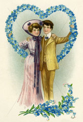 Liebespaar  Verlobung  Heirat  1907