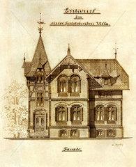 Bauskizze  Entwurf einer Villa  um 1895