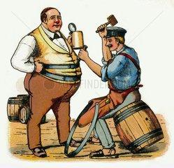Biertrinker  Bierbauch  Humor 1911