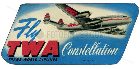 Trans World Airways  TWA  Kofferaufkleber  1954