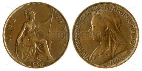 One Penny  Muenze  Queen Victoria  1896