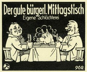 Kinoreklame fuer ein gutbuergerliches Mittagessen im Gasthaus  1929