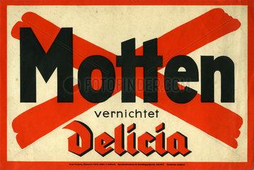 Mottenvernichtung mit Delicia  Werbung  1934