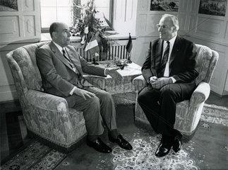 Gipfeltreffen Praesident Francois Mitterand  Bundeskanzler Helmut Kohl