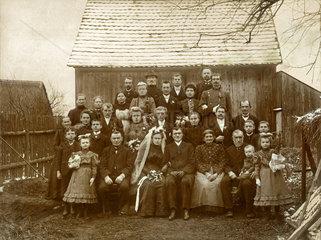 Hochzeit auf dem Lande  Hochzeitsfoto  1913