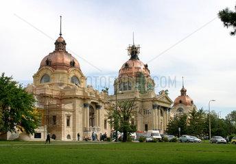 Dringende Sanierungsarbeiten am Thermalbad Szechenyi im Budapest Stadtwaeldchen. Kunstvoll werden die Kuppeln neu eingedeckt. Innen hat sich der Schimmelpilz breit gemacht. Manche Decken in den Baedern sind pechschwarz.