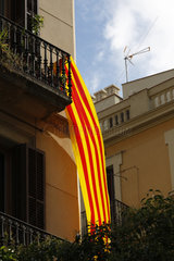 Katalanische Fahne in Barcelona