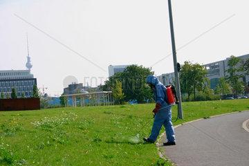 Berlin - Unkrautvernichtung in Spreebogen Park  im Hintergrund dem Bundestag