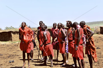 Massai singing and celebrating the typical dance