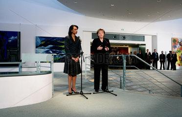 Condoleezza Rice meets with German Chancellor Angela Merkel