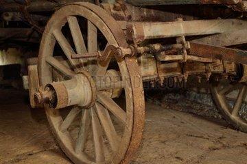 Ausschnitt eines alten Holzleiterwagens