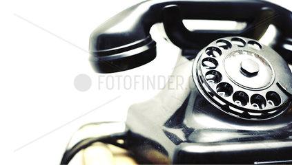 schwarzes Telefon aus Bakelit