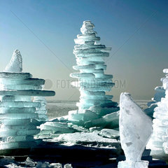 Man Made Ice Towers on the Chiemsee  frozen lake