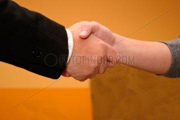 Handshake von Vorgesetzter und Bewerber