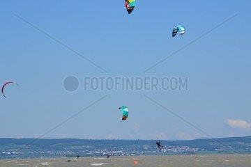 Mehrere Kitesurfer mit Lenkdrachen am See