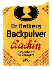 Dr. Oetker's Backpulver Backin  Tuetchen  um 1935