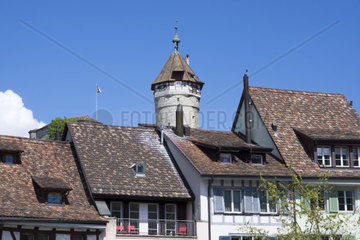 View of the old town of Schaffhausen with Munot Fortress  High Rhine  Canton of Schaffhausen  Switzerland  Europe
