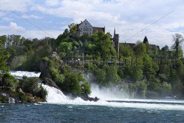 Rhine Falls and Schloss Laufen Castle  near Schaffhausen  Canton of Schaffhausen  Switzerland  Europe