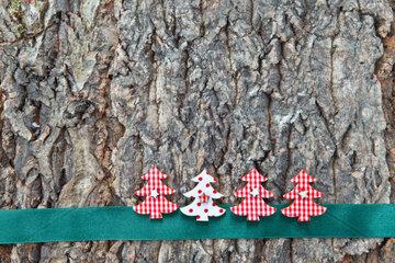 Rustikaler Hintergrund aus Rinde mit kleinen Tannenbaeumen zu Weihnachten