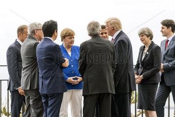 Tusk + Juncker + Abe + Merkel + Gentiloni + Macron + Trump + May + Trudeau