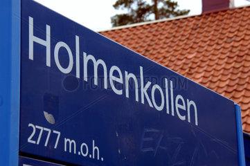 U-Bahn Haltestelle zur Holmenkollen Schanze ausserhalb von Oslo  Norwegen.