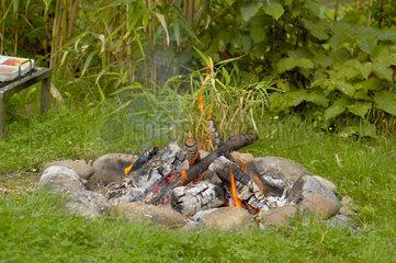 Feuerstelle im Garten.