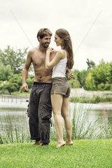 Young couple at lake