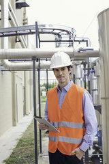 Engineer inspecting industrial site