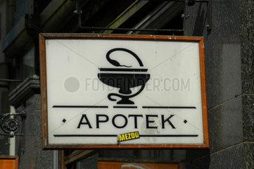 Apothekenschild in Oslo  Norwegen.