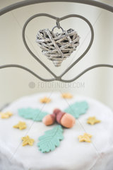 Cake on stand with heart shaped decoration